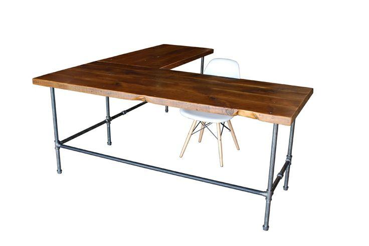 L Shaped Reclaimed Wood Desk | Modern Office Furniture |Urban Wood