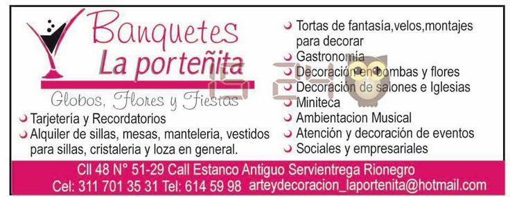 Banquetes La Porteñita. Globos, flores y fiestas.
