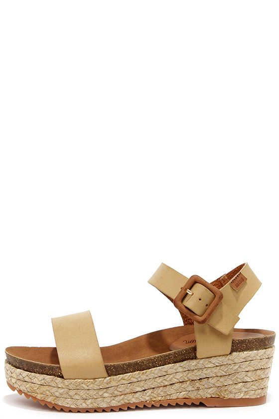 MTNG 52319 Vache Camel Espadrille Wedge Sandals at Lulus.com!
