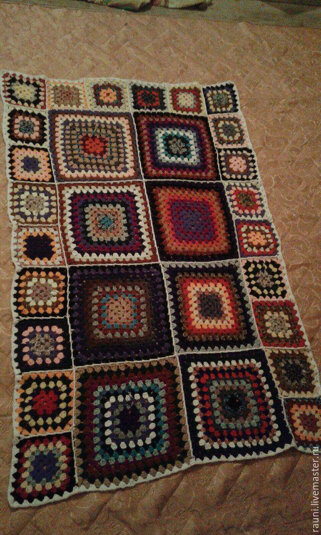 Купить Вязаный плед ручной работы - Вязание крючком, разноцветный, Бабушкин квадрат, ручная работа