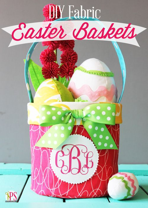 An Easter craft idea for sewing fabric Easter baskets. Full step-by-step sewing tutorial and pattern.