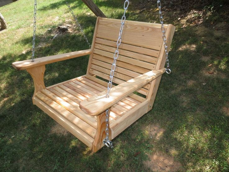 """Porch Chair Swing, Larger Chair Swing, Super Swing, Larger Adult Swing. Made of Cypress Wood 20"""" Deep Seat 24"""" wide. Construction LIFETIME WARRANTY. Handcrafted in USA. Handle weight of up to 400#. Free Shipping UPS GROUND/ not HI. PR.or Alaska."""