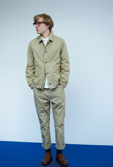 Nanamica Spring 2015 Lookbook Styling Khaki Trousers Overshirt