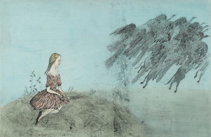 Kiki Smith (American, born Germany, 1954). Come Away from Her, 2003. Intaglio with hand applied watercolor, Sheet: 50 3/8 x 73 1/2 in. (128 x 186.7 cm). Brooklyn Museum, Gift of the Prints and Photographs Council, 2004.22. © Kiki Smith (Photo: Brooklyn Museum, 2004.22_PS1.jpg) https://www.brooklynmuseum.org/opencollection/objects/166799/Come_Away_from_Her