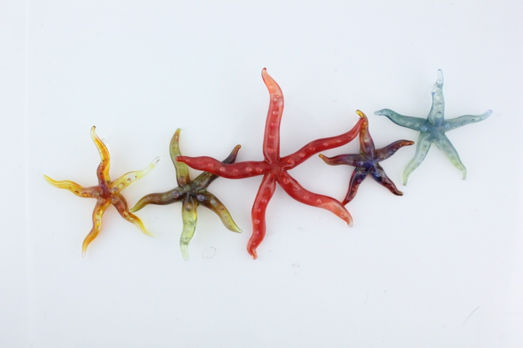Five Lampwork glass Starfish Pendants