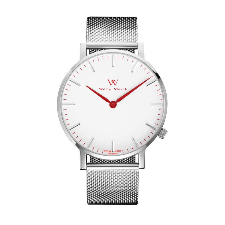 A round silver case with classically curved lugs,elegant hue, the red hands match the case colors and underscore their prominent design,color-coordinated mesh strap, inimitable and upscale watch.