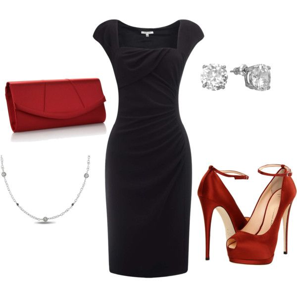 Fabulous little black dress. I am so in love with this dress and the smokin' red accessories!