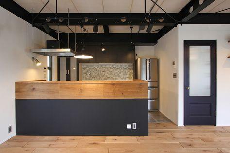 KITCHEN/counter/pantry/tile/black/キッチン/パントリー/カウンター/収納/食器棚/タイル/黒/リノベーション/フィールドガレージ/FieldGarage Inc.
