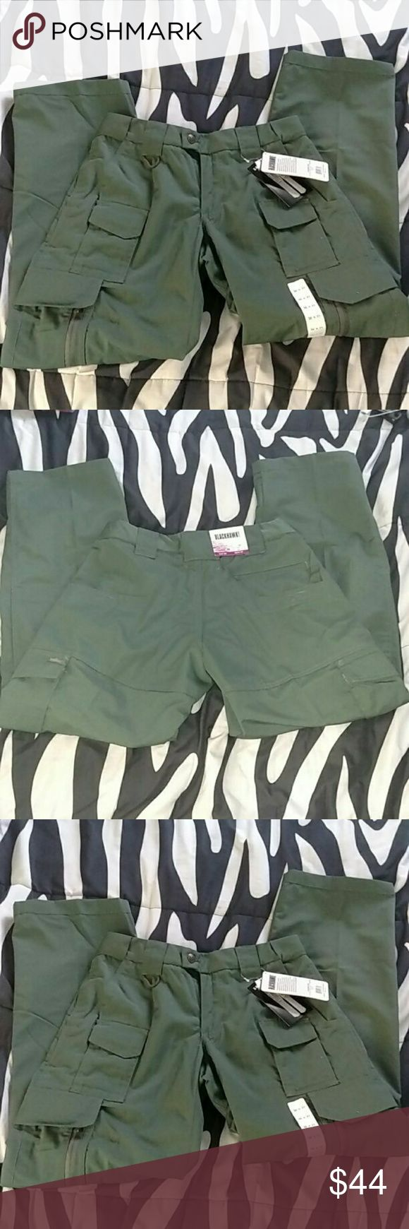 NWT Blackhawk tactical uniform cargo pants Authentic Blackhawk Women's TacticalPants Size: 30x31 Brand new with tags Color: OD Green  Constructed of wrinkle-, fade- and stain-resistant 6.5 oz. polyester/cotton blend  DWR (Durable Water Repellent) treatment resists stains and dries quickly  Hidden expandable waistband for increased mobility with a clean look  Silicone grip strip in waistband keeps shirt tucked in  Angle-cut pockets for vertical storage of knife or flashlight without…