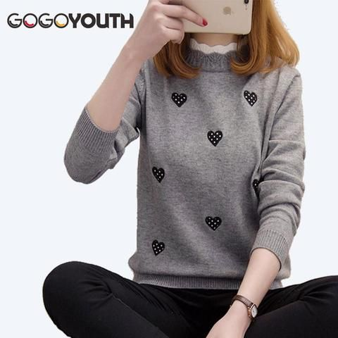 b48c48e265 Gogoyouth Heart Embroidery Winter Sweater Women For 2018 Autumn Korean  Elegant Knitted Jumper Ladies Pullover Female Pull Femme