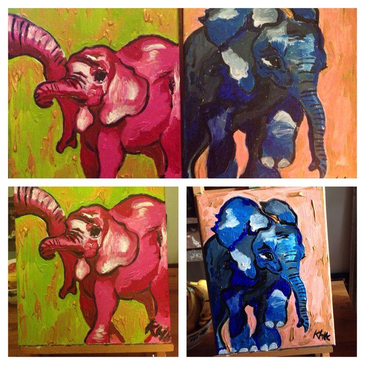 Elephants, acryl