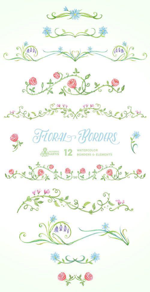Blumenränder & Elemente. 12 digitale Clipart. Von Hand bemalt, Hochzeit-Elemente, Blumen, diy Einladung, Rahmen, Verschönerung, ornamentalen