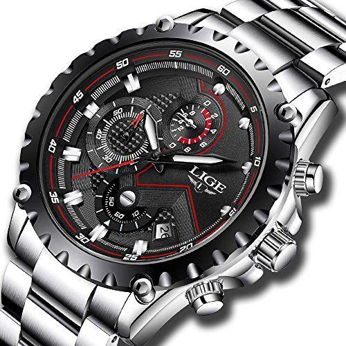 Los hombres del cronógrafo impermeable relojes negocio moda deporte reloj de  cuarzo relojes para hombre Lige df41fc541314