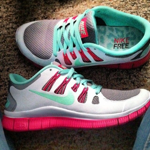 Pink and teal colored Nikes