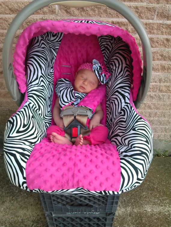 Hot Pink and Zebra Baby Car Seat Cover