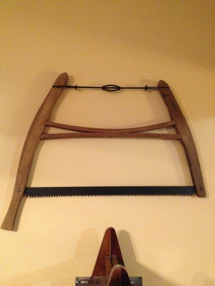 The Cross Cut Saw On A Wall Mount : Vtg antique wooden buck saw wood cross cut primitive farm