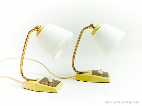 Pair of Mid Century Bedside Lamps White Glass Modern Lamps 50s  Best 25  Small bedside. Yellow Bedside Lamps   makitaserviciopanama com