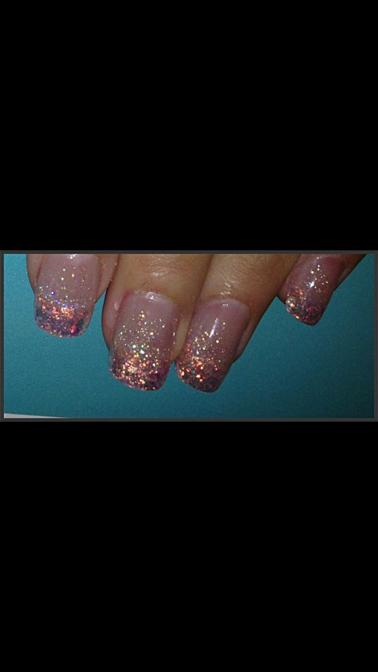 Glitter French acrylic nails with glitter fade.