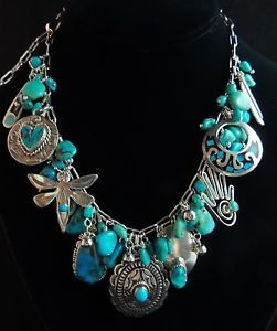 Old Native American Turquoise Jewelry | about VINTAGE STERLING SILVER TURQUOISE CHARM NECKLACE MEXICO/NATIVE ...