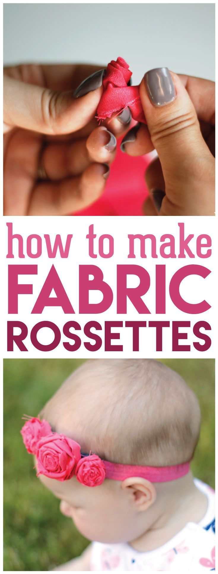 Learn how to make fabric rosettes in just a few simple steps with this easy tutorial. Perfect idea for girl headbands.