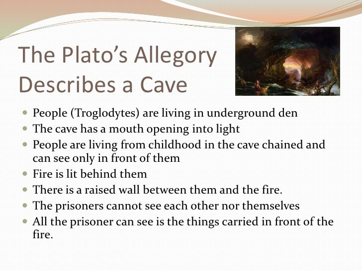 an example of platos allegory of the cave Plato's allegory of the cave is one of the best-known the theory of forms by plato: definition & examples the dialogue between socrates and glaucon is probably fictitious and composed by plato whether or not the allegory originated with socrates.