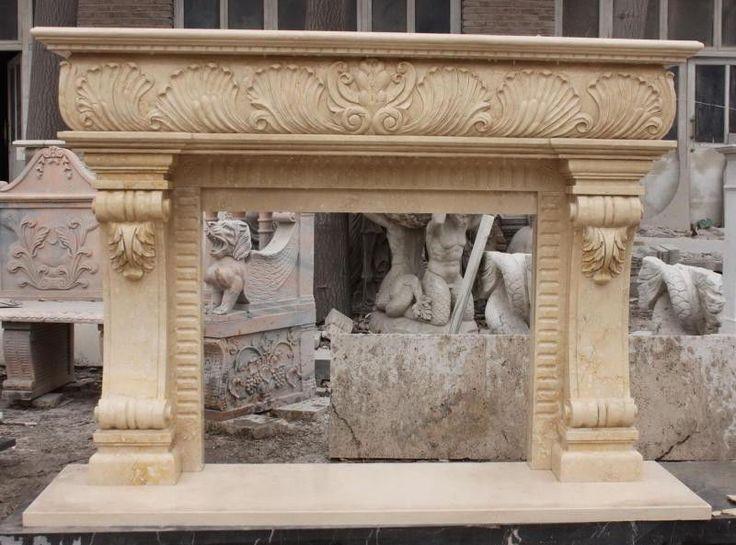 Hand Carved Designer Marble Fireplace Mantel
