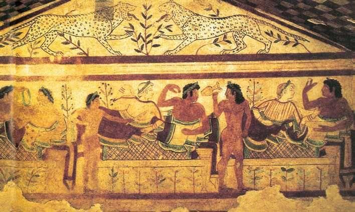 Сцена пира. Фреска из гробницы леопардов. Ок. 470 г. до н.э. Тарквинии