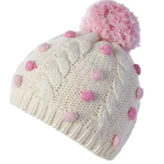 c4066332b8aaf9 Pink Dot Candy Baby Girl Hat with Pom Pom - Cream and Pink ...