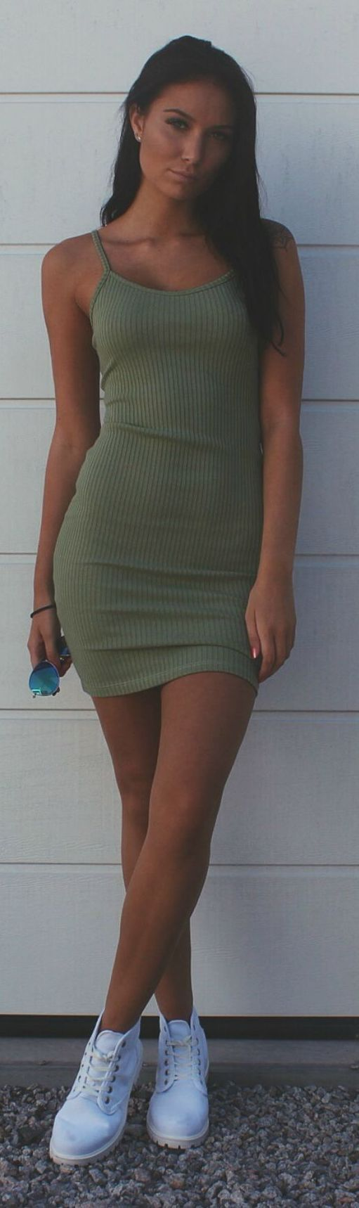 Emilia Angergard Olive Bodycon Ribbed Cami Dress