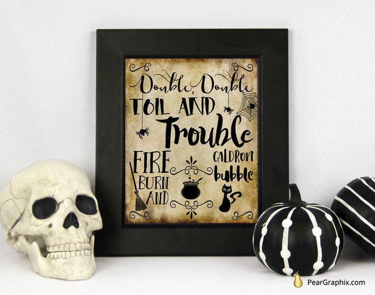 Halloween Printable Decor Double Double Toil and Trouble