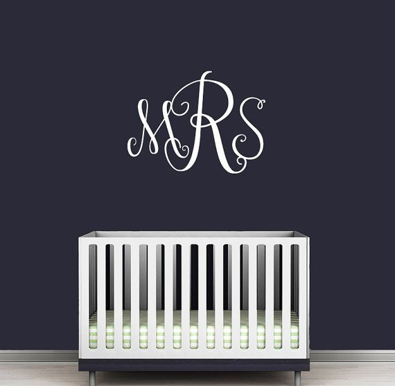 FREE SHIPPING Monogram Wall Decal - Personalized Initials - College Dorm Room - Monogrammed Wall Vinyl Decal Custom Monogram