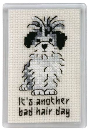 Stitch this cute chart for a dog-loving friend who you know will find the sentiment amusing! We've mounted this free cross stitch chart onto a fridge magnet