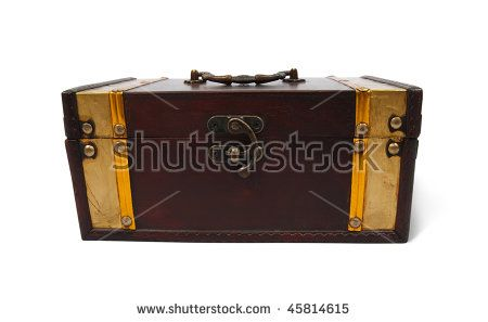 Front view of a treasure chest on a white background with clipping path