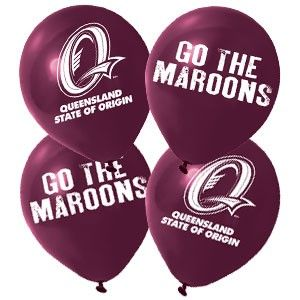 queensland maroons - party balloons. Nrl rugby league decorations.