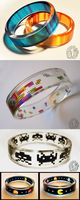 Portal bangles or tetris bangle Video game resin bracelets: Portal, Tetris, Space Invaders, Pacman. http://www.omniaoddities.com/shop/#!/~/category/id=6704153&inview=product24119561&offset=0&sort=normal