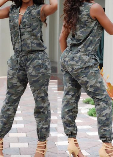 Stand Collar Sleeveless Drawstring Waist Camouflage Jumpsuit