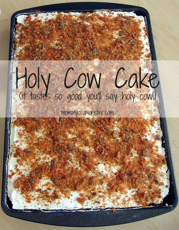"""This decadent but easy to make Holy Cow Cake will have you saying """"Holy Cow!"""" after the first bite. Chocolate, Butterfinger, caramel, and whipped cream all in 1 bite."""