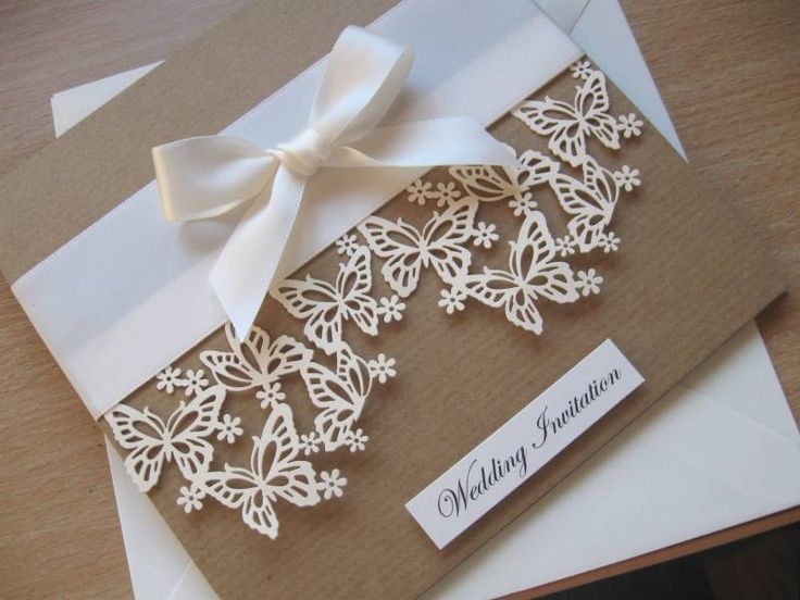Luxury Vintage Themed Wedding Invitation - Laser Cut Butterfly Design with Satin