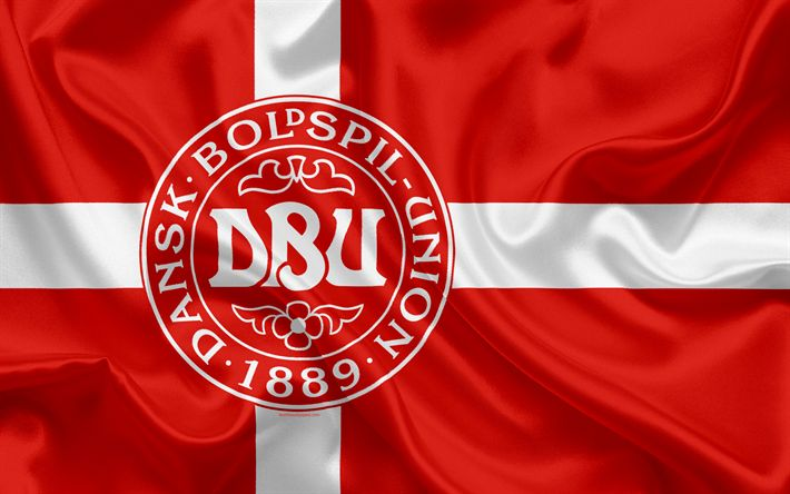 Download wallpapers Denmark national football team, emblem, logo, flag, Europe, flag of Denmark, football, World Cup