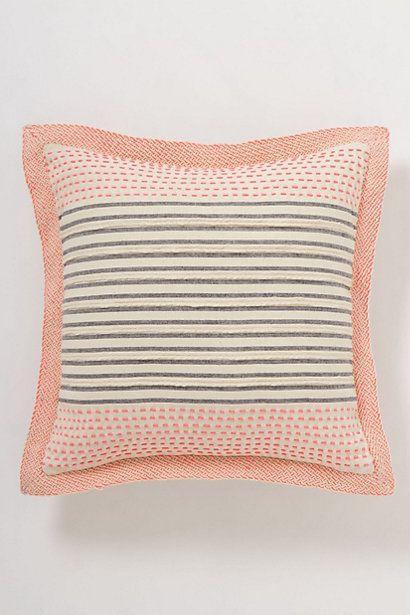 anthropologie cushion ~ coral, creme & gey
