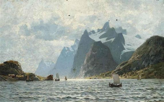Artwork by Eilert Adelsteen Normann, Fishing vessels on a Norwegian fjord, Made of Oil on canvas