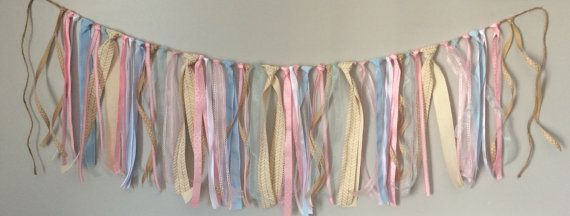 Pink and Blue Ribbon Garland Gender Reveal by BeeCottageBoutique