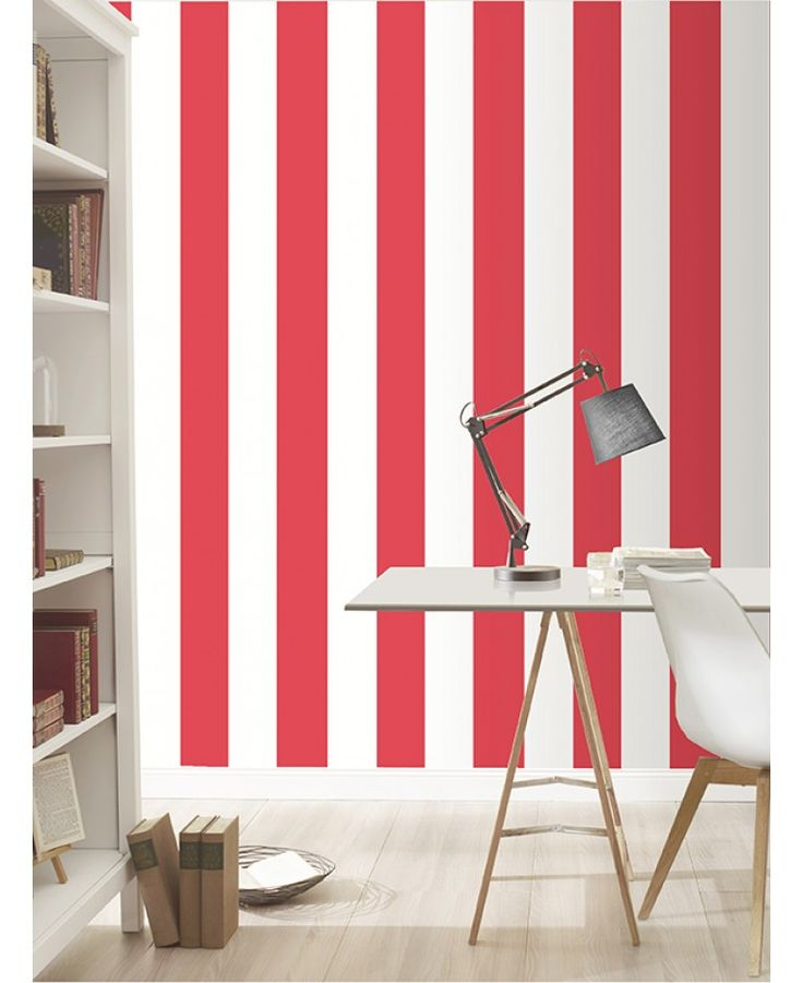 This Stripe Wallpaper by Rasch features a matte red stripe alternating with a matte white stripe for an eye-catching look.