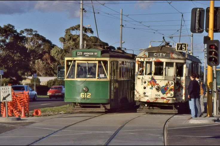 Today's historic pic: Y1 612 & W2 tram 336 at East Burwood, Vic, 30 years ago, August 1 1987. Old trams were running due to maint'ce bans.