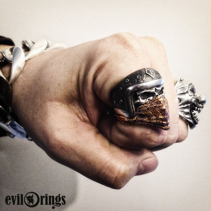 Biker Skull Ring 1%er with bandana