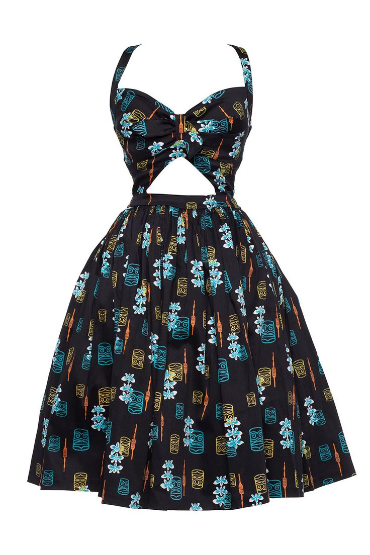 Pinup Couture Renee Dress in Orange Tiki Print