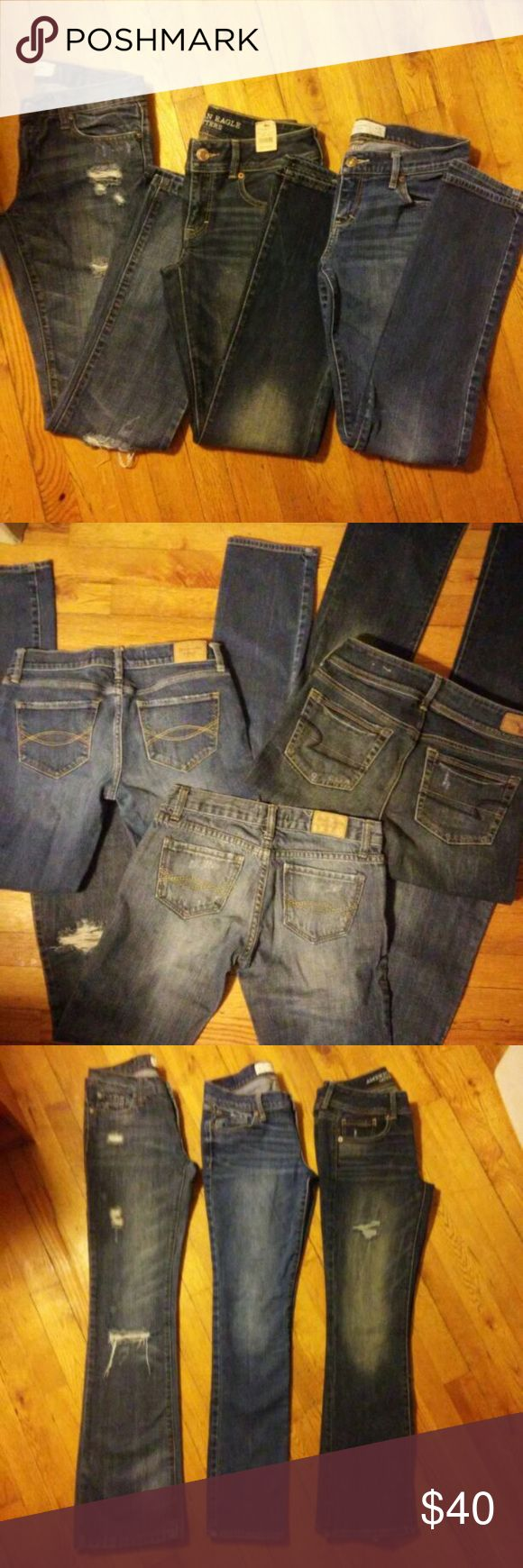 Abercrombie Jeans Bundle! 1st pair- Abercrombie and Fitch  Dark Wash Distressed  Bootcut  Excellent condition only worn twice washed once.   2nd pair - Abercrombie and Fitch  Medium Wash  Skinny.  Good Used Condition                                                                                                                                  3rd Pair - American Eagle  NEW WITH TAGS  Med-Dark Wash  Skinny Kick.           All 3 PAIRS COULD BE ADORABLE SUMMER SHORTS :) #DIY #Distressed…