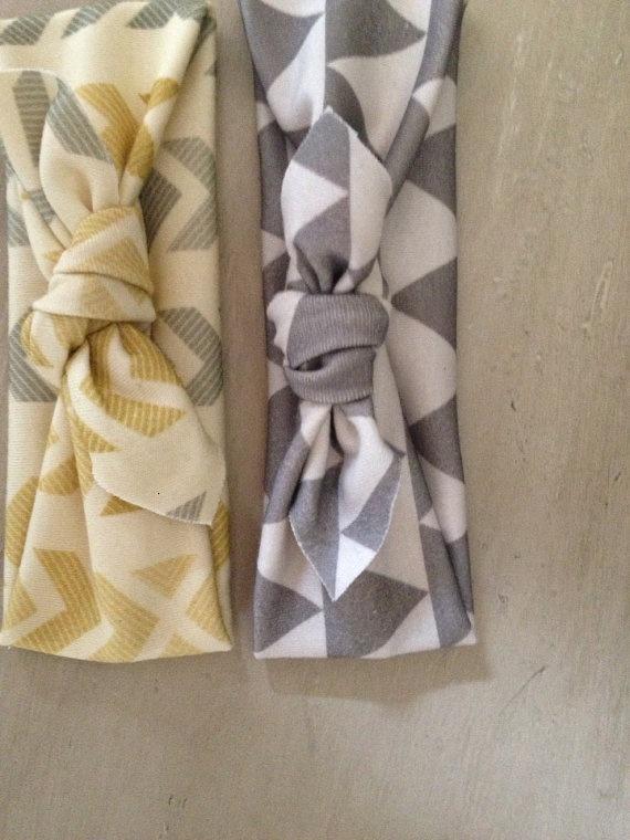 Chevron Grey and Yellow Arrow Knotted Headband