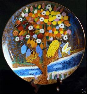 HARRY LIEBERMAN TREE OF LIFE FOLK ART PORCELAIN PAINTING PLATE JUDAICA JEWISH