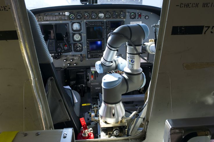 Aurora Flight Sciences' Aircrew Labor In-Cockpit Automation System (ALIAS), is mounted in the co-pilot seat of a Cessna Caravan aircraft at Manassas Airport in Manassas, Virginia, on October 17, 2016. Government and industry are working together on a robot-like autopilot system that could eliminate the need for a second human pilot in the cockpit.